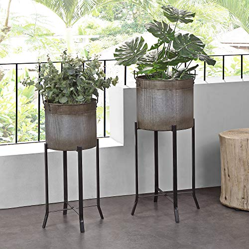 FirsTime & Co. Farmhouse Trough Outdoor Planter 2-Piece Set, American Crafted, Aged Galvanized Metal, 15.5 x 14 x 32.5 ,