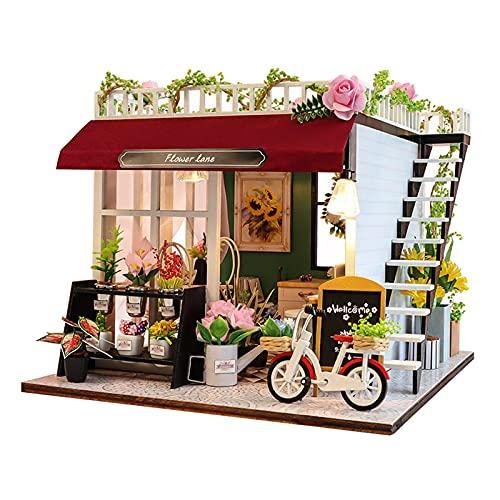 perfeclan Mini Bricolaje LED casa de muñecas de Madera en Miniatura Kit de Muebles de Madera casa de muñecas Juguete cumpleaños Vacaciones Regalos