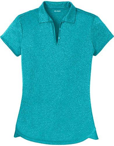 Joe's USA DRI-Equip(tm) Ladies Heathered Moisture Wicking Golf Polo-TropicBlue-XL
