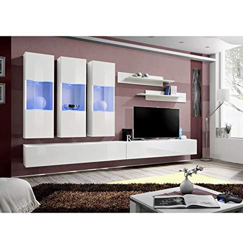 ASM Ensemble TV avec LED - 6 éléments - Blanc et Noir