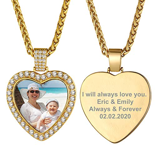GOLDCHIC JEWELRY Dj Golden Collane Personalizzate con Foto, Pendente a Forma di Cuore con Catena in Oro per Uomo e Donna