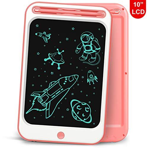 Richgv Tablet para Niños, 10 Pulgadas Tablets de Escritura LCD, Portátil Tableta de Dibujo, Cuaderno de Notas Adecuada Juguetes de Niñas de 3-10 Años, 1 Año de Garantía (10 Pulgadas, Rosa-A)