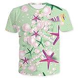 Verano Nueva Tendencia Ocean Pearl Shell Imprimir Camiseta de Manga Corta Hombres y Mujeres Impresión 3D Camiseta Moda Manga Corta, XXX-Large