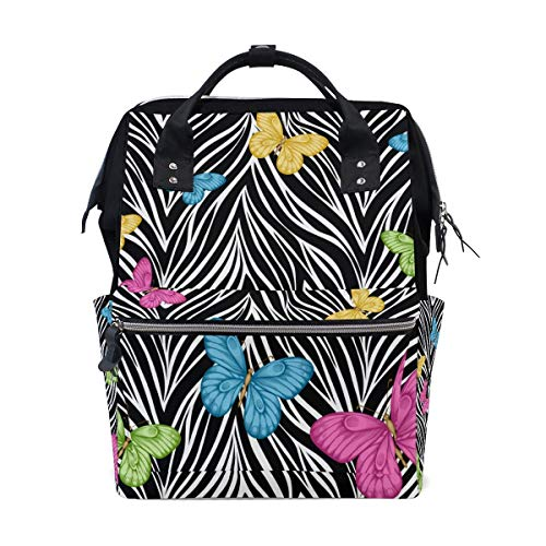 Casual Travel Daypack Zebra Print Butterfly Water Resistant Casual Daypack Lightweight Packable Backpack Lightweight School Bookbag,Large Capacity,Multipurpose,Stylish and Durable