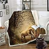 JNBGYAPS Coperta in Pile Stampa 3D Cavallo Bianco nella Foresta Coperta PIC nic,Coperta Divano Inverno Morbida Idea Regalo Trapunta Peluche Addensare Coperta130x150cm