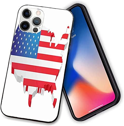 Compatible con iPhone 12 Series Case, 3D Map of United States con Old Glory Patriotic, funda delgada con PC flexible TPU anti arañazos absorción de golpes para iPhone 12 Pro - 6.1 pulgadas
