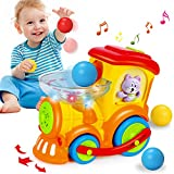 HOMOFY Baby Toys 12-18 Months Toys for 1 Year Old Boys Drop and Go Train Ball Popper Toy For Toddlers with 3 Balls,Light/Talking/Music Early Educational Gifts Toys for 1 2 3 4 Year Old Boys Girls Kids