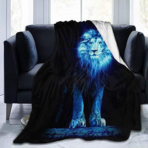 Fansu Kuscheldecke Flanell Decke, 3D Drucken Microfaser Flauschig Weich Warm Plüsch Wohndecke Fleece Tagesdecke Decke für Sofa & Bett (Löwe,150x220cm)