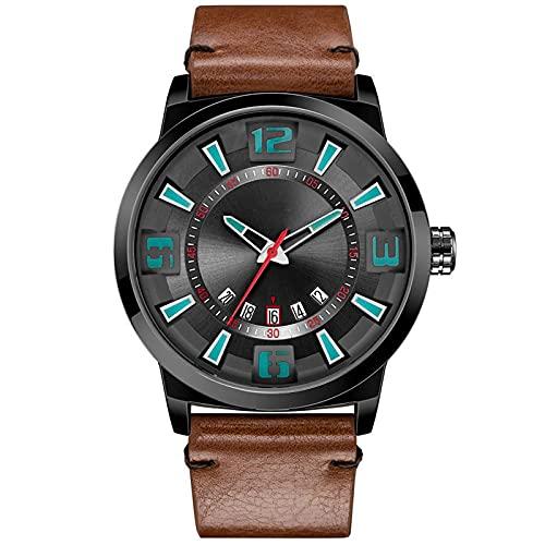 WNGJ Hombre Relojes, Cuarzo Relojes, Reloj De Moda con Correa De Cuero Impermeable, Reloj De Moda Simple Multifuncional, Salud Juvenil Deportivo Relojes Black