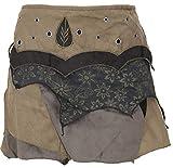 GURU SHOP Falda envolvente de Elfen, minifalda de cachemira, para mujer, algodón, falda/corta, ropa alternativa verde oliva S-M