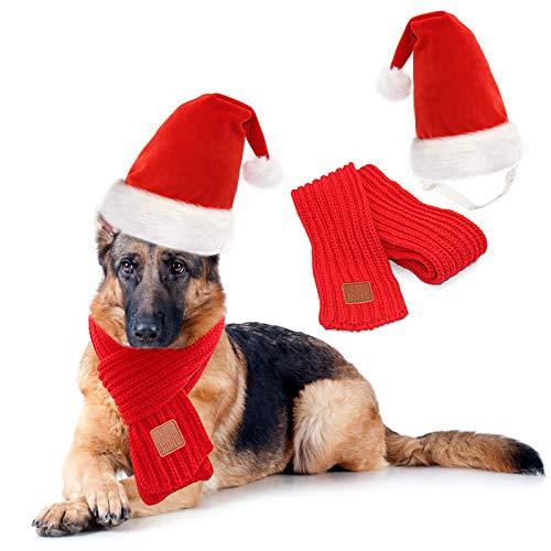 RYPET Dog Santa Hat and Scarf - Christmas Dog Costumes Pet Santa hat Christmas Dog Scarf for Large...