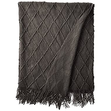 battilo Diamond Pattered Woven Decorative Throw Blanket, 50  W by 60  L, Grey