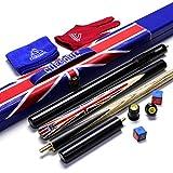 CUESOUL Taco de Snooker de ébano articulado de 3/4 de artesanía de 3'con diseño de Bandera Union Jack