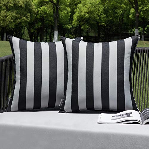 MIULEE Pack of 2 Outdoor Waterproof Cushion Covers Stripe Throw Pillow Cover Pillow Case Decorative for Garden Beach Park Bed Sofa Chair Bedroom Pillowcases 45x45 cm 18x18 inch Grey and Black
