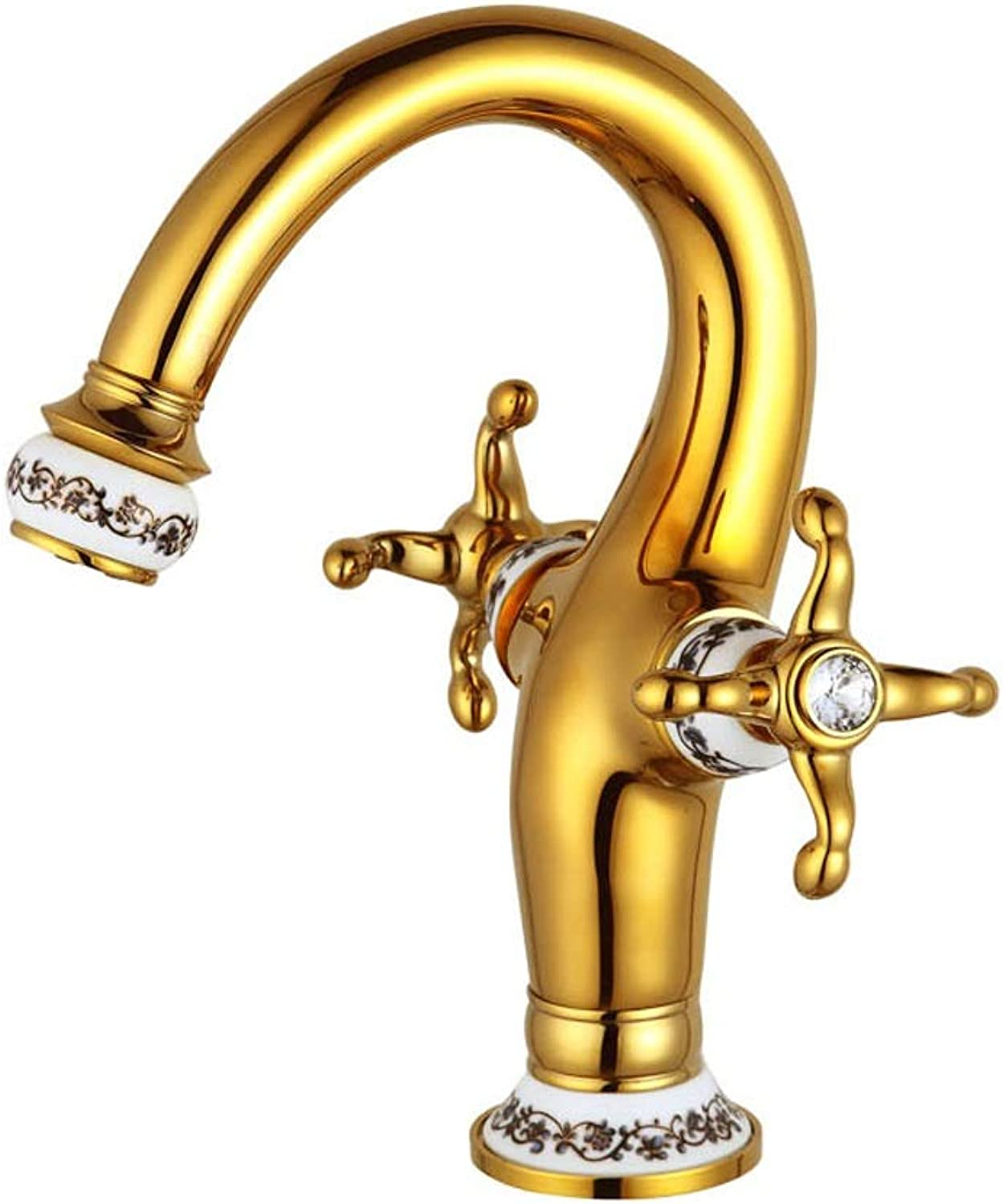 AXWT gold Rhinestone bluee And White Porcelain Cold Heat Faucet European Style Retro Water-tap Ceramics Marble Basin Taps Double Handle