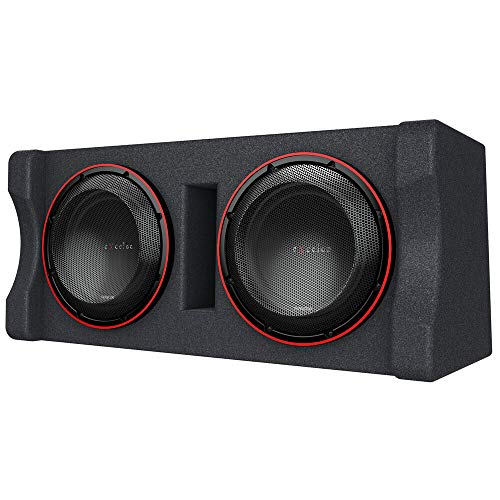 Kenwood Excelon P-XW1221DHP 2-ohm Ported Enclosure with Two 12  Subwoofers | Dual 12  Preloaded High Power Subwoofer Enclosure