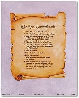 Wall Decor Ten Commandments Catholic Inspirational Quote Art Print Poster (8x10)