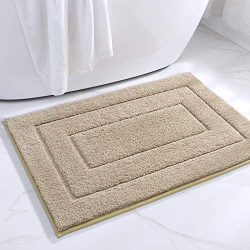 DEXI Alfombra de Baño Antideslizante,Alfombra Baño Microfibra,Alfombrilla de baño Lavable a Máquina,Súper Absorbente,Ultra Suave (50 x 80 cm,Beige)
