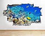 Pegatinas de pared 3D tatuajes 60x90cm Pegatinas de pared para acuario, pecera, agua, sala de estar, calcomanía, póster, arte 3D Viny Etiqueta de la pared