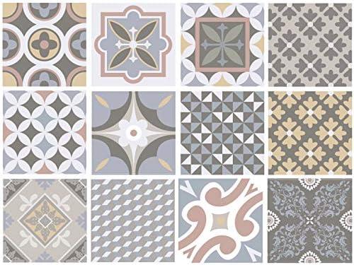 Cordoba Decorative Tile Stickers Set 12 Units 6x6 inches. Peel & Stick Vinyl Tiles. Backsplash. Home Decor. Furniture Decor. Staircase Decor. 3 sqf per Package.