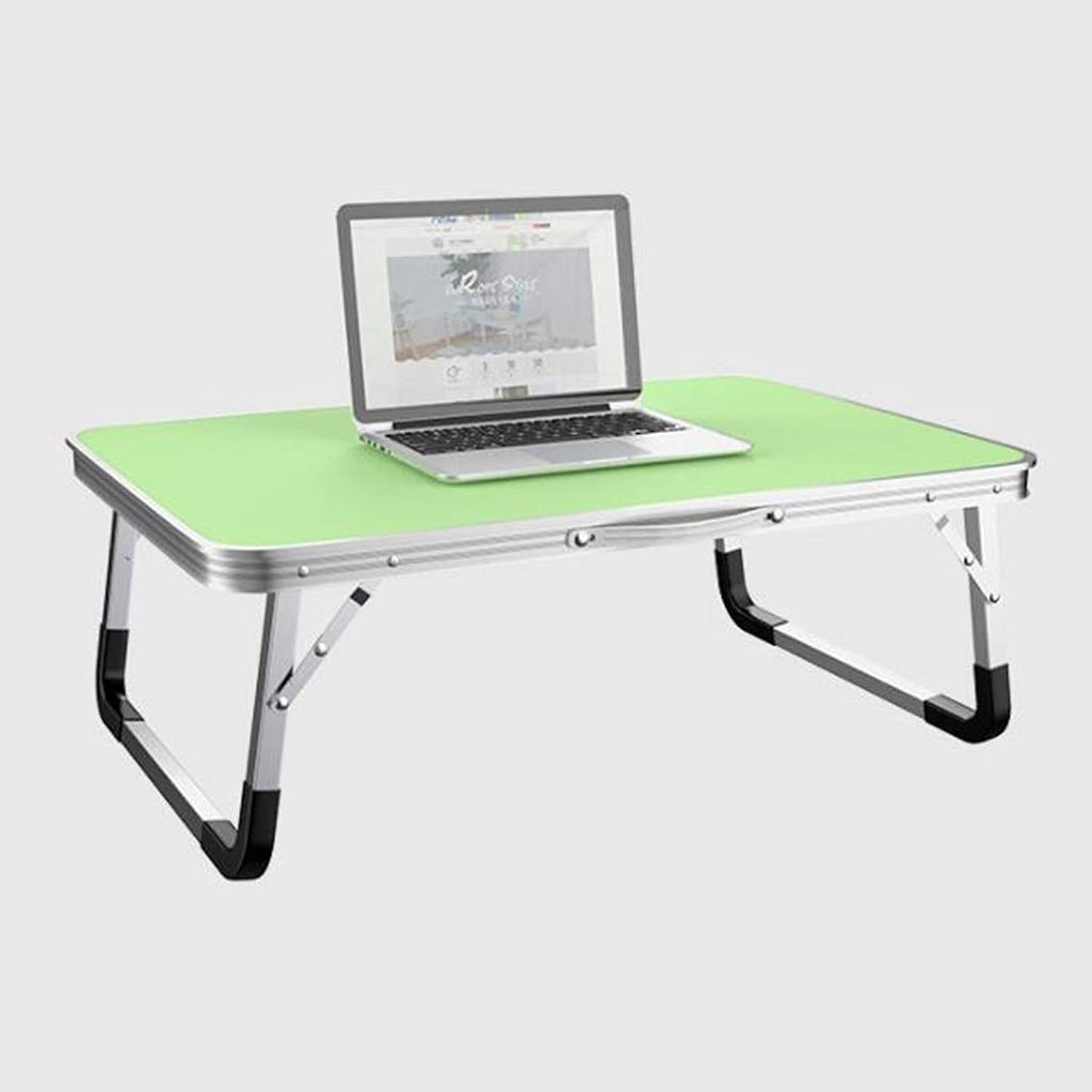 SHWSM Bed Folding Table Lazy Computer Table Student Simple Desk Home Small Dining Table, Large Desktop   70 × 50cm Folding Table (color   Green)