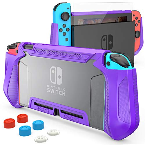 HEYSTOP Case Compatible with Nintendo Switch Case Screen Protector,TPU Protective Heavy Duty Cover Case for Nintendo Switch with Shock Absorption and Anti-Scratch Transparent Purple
