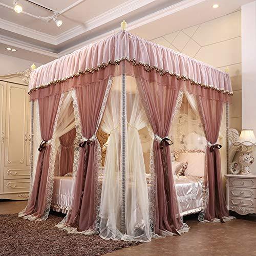 SETSCZY 4 carteles para cama con diseño de princesa de lujo, ampliado y ampliado, mosquitero grande con doble cifrado con cortinas de techo a prueba de polvo, E, 180 × 220 × 210 cm
