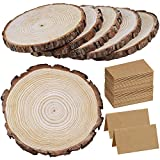 """6 Pcs 8""""-11"""" Wide Large Natural Round WoodSlices with Bark PineWood Slices Table Mat with 50 Pcs Kraft Place Cards for for Wedding Centerpiece DIY Woodland Projects Table Chargers Country Decor"""
