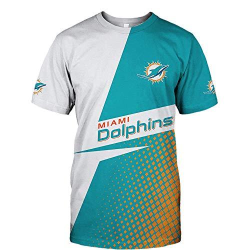 COZY LS UnisexHoodie Sweater - NFL Miami Dolphins Jacken 3D Lässige Pullover Baseball Jersey Zip Sweatshirt Langarm Herbst-Winter-Mantel - Teens Geschenk Short Sleeve-XXXXL