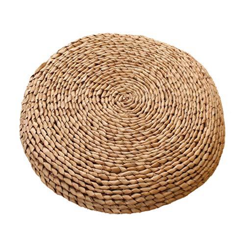 LTINN HandGewebtes Strohgewebe Bodenkissen Sitzkissen Yogamatte, rund, kein eigenartiger Geruch, für Zen, Yoga-Praxis oder Buddha-Meditation