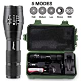 Rechargeable Bright LED Torch Light Powerful Cree Military Flashlight -Includes UK Mains Adapter