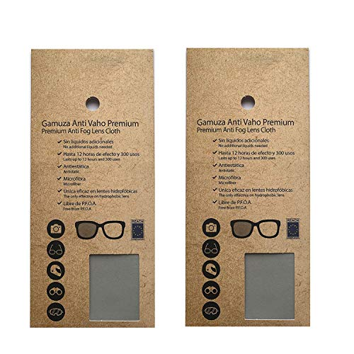 2 Gamuza Antivaho Premium para gafas y lentes. Paño de microfibra anti-vaho para gafas con mascarilla, objetivos de cámara, casco de moto, gafas de buceo, de sol, graduadas. Paño reutilizable