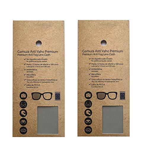 2 Gamuza Antivaho Premium para gafas y lentes. Paño de microfibra anti-vaho para gafas con mascarilla, objetivos de cámara, casco de moto, gafas de buceo, de sol, graduadas. Paño reutilizable 300 usos