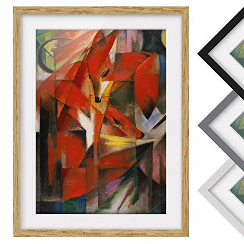 Bild mit Rahmen - Franz Marc - Füchse - Rahmenfarbe Eiche, 55 x 40 cm
