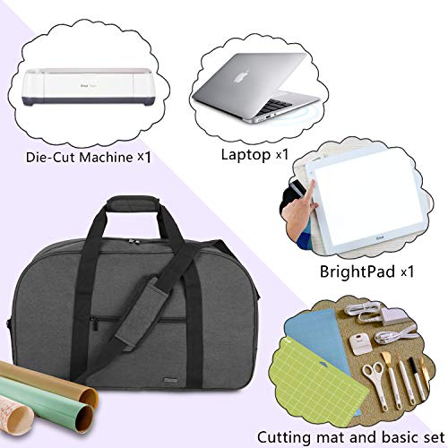 Luxja Carrying Bag for Cricut Machine, Laptop, Bright Pad, Cutting Mat and Other Accessories, Storage Bag Compatible with Cricut Explore Air (Air2) and Maker (Bag Only), Black