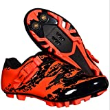 BOODUN Men's Cycling Shoes,mountain Bike Lock Shoes,mtb Road Pro Cycling Shoes,Red-40EU