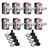 Toggle Switches 8 Pack 2 Pin ON Off SPST Car Rocker Toggle Switches,15A 250V 20A 125V Switch Metal Bat,Heavy Duty with Waterproof Boot Cap…