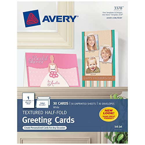 Avery Printable Half-Fold Greeting Cards, 5.5 x 8.5 Inches, Inkjet Printers, 30 Blank Cards (3378) - White