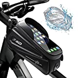 MLD Bike Phone Front Frame Bag - Bicycle Top Tube Bike Phone Holder Bag, Waterproof Bike Storage Bag Pouch with Phone Mount Compatible for up to 6.9 Inch Phone