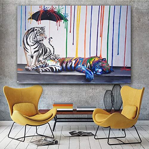Graffiti-olieverfschilderij tijger dier afbeelding kleurrijke paraplu canvas schilderij muurkunst voor woonkamer tijger familie frameloos