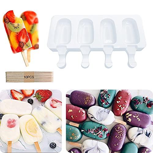 Supercat Silicone Moule À Crème Glacée Pop Ice Lolly Moule Maker Dessert Congelé Popsicle Plateau Maison Cuisine Outils Pan + 10 pcs Bâtons en Bois (Petit)