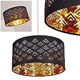 Suspension Samares en métal nickel mat et tissu noir/or, lampe pendante moderne ronde pour salon, chambre, salle à manger