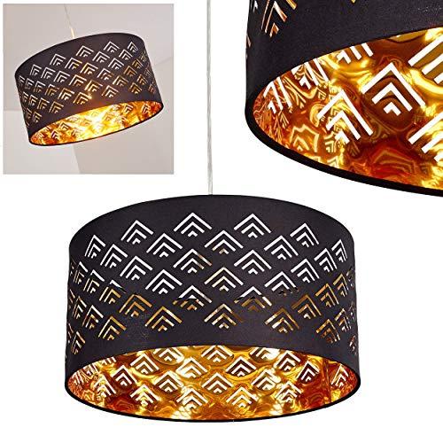 Pendelleuchte Samares, moderne Hängelampe aus Metall/Textil in Schwarz/Gold, Ø 40 cm, Höhe max. 170 cm, E27 max. 60 Watt, geeignet für LED Leuchtmittel