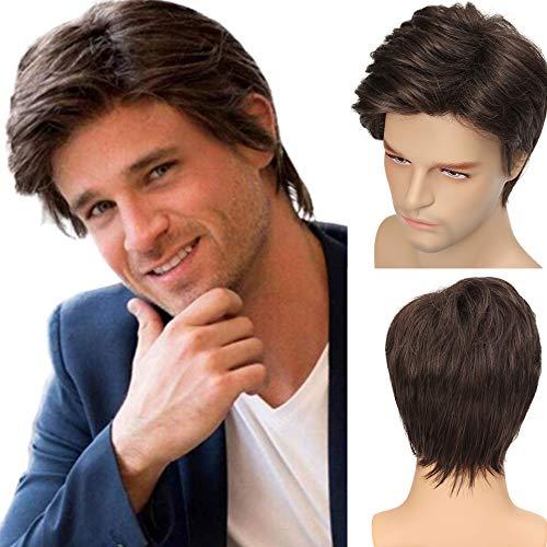 Perücke Herren gemischt Blond Braun Kurz Haar Synthetische Perücken für Männer Hitzebeständige Cosplay Halloween Party mit Perückenkappe
