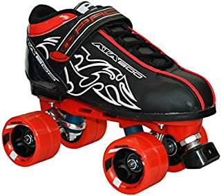New! Customized Pacer Black ATA-600 Quad Roller Speed Skates w/ Red Dart Wheels! (Mens 7)