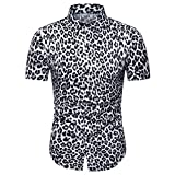 Henley Camisa Hombre Moda Leopardo Estampado Hombre Deportiva Camisa Verano Botón Placket Manga Corta Shirt Clásico Moderno Urbano Negocios Casual Hombre Polo Shirt A-White XXL