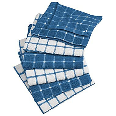 DII Cotton Terry Windowpane Dish Cloths, 12 x 12  Set of 6, Machine Washable and Ultra Absorbent Kitchen Bar Towels-Blueberry
