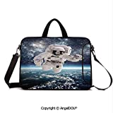 AngelDOU Neoprene Laptop Shoulder Bag Case Sleeve with Handle and Extra Pocket Outer Space Theme Astronaut in Milkyway Print Galaxy Stardust Earth Home Decor D Compatible with MacBook/Ultrabook/HP/A