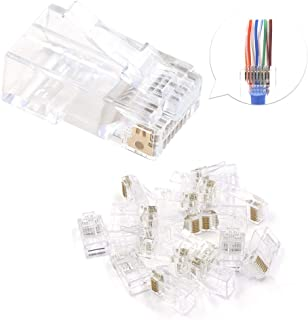 VCE 50-Pack CAT6 RJ45 Pass Through Modular Plugs, 3 Prong Gold Plated Ethernet 50u EZ Crimp Connectors for Solid or Stranded UTP Cable, UL Listed