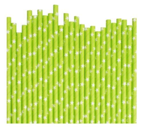 Pajitas de papel de 30 unidades, color verde con estrella blanca 6 mm, biodegradables, cumpleaños, fiesta, Navidad, Navidad, café, restaurante, paja de boda a granel